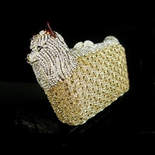 Schnauzer Yorkshire Terrier Crystal colorA DOG animal Wedding Party Night hollow Metal Evening purse clutch bag case box handbag