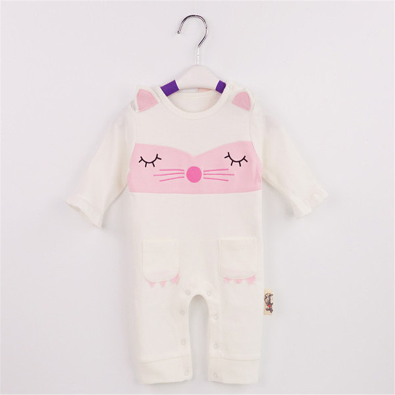 Newborn Baby Girls Rompers Princess Style 3 PCS Set 100% Cotton Infant Clothes Bebe Cute Cat Jumpsuit Clothing