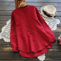 Literaure Floral Embroidery Red Shirts Woman Long Sleeved Cotton Linen Tops Clothing Stand Collar High Quality Ladies Blouses