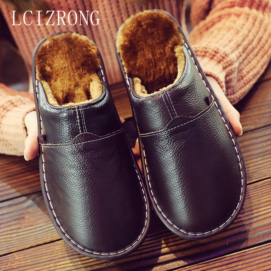 LCIZRONG Leather Home Slippers for Men Winter Warm Plush Slippers Bedroom Genuine Leather Unisex Men women