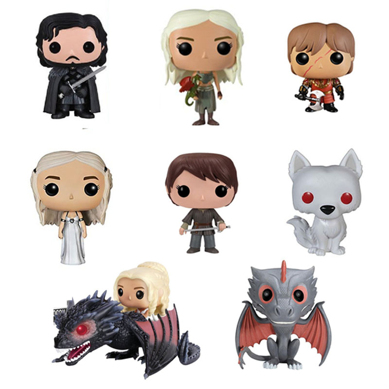 Hot Movie Game Of Thrones Jon Snow Daenerys Tyrion Ghost all kinds of Action Figure toys Model Gift Doll pvc figure all kinds of horses 15pcs set
