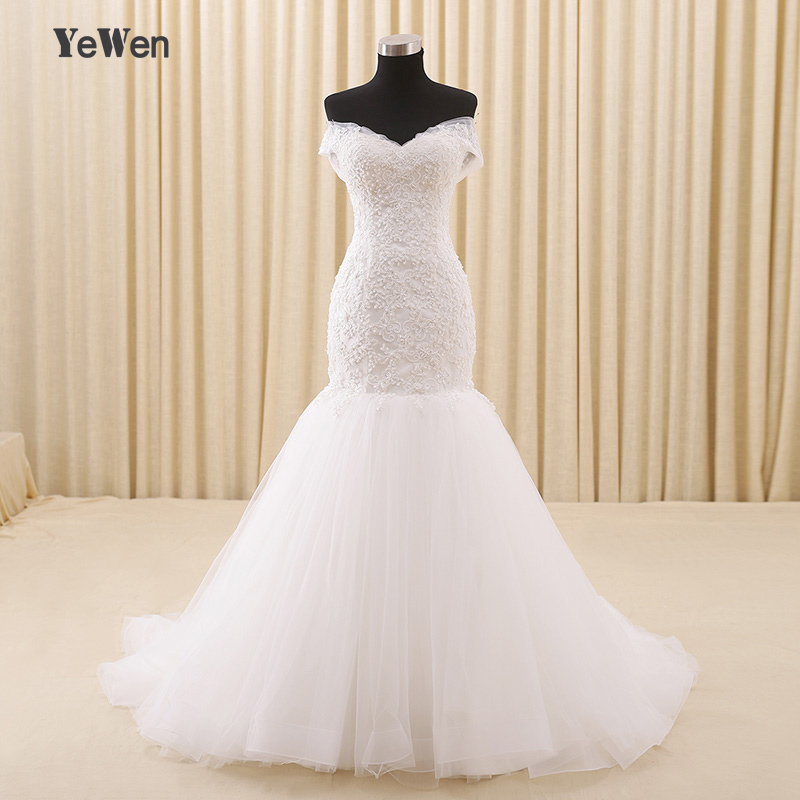 Off shoulder beach wedding dress 2017 plus size yewen lace for Off white plus size wedding dresses