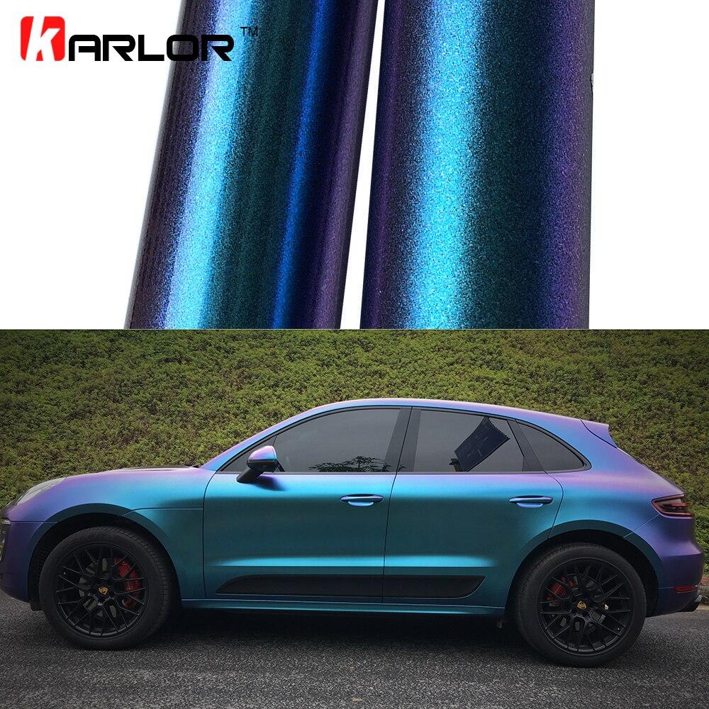 2m 18mX152cm Glossy Matte Chameleon Pearl Glitter Vinyl Sticker Purple Blue Chameleon Automobiles Car Wrap Diamond