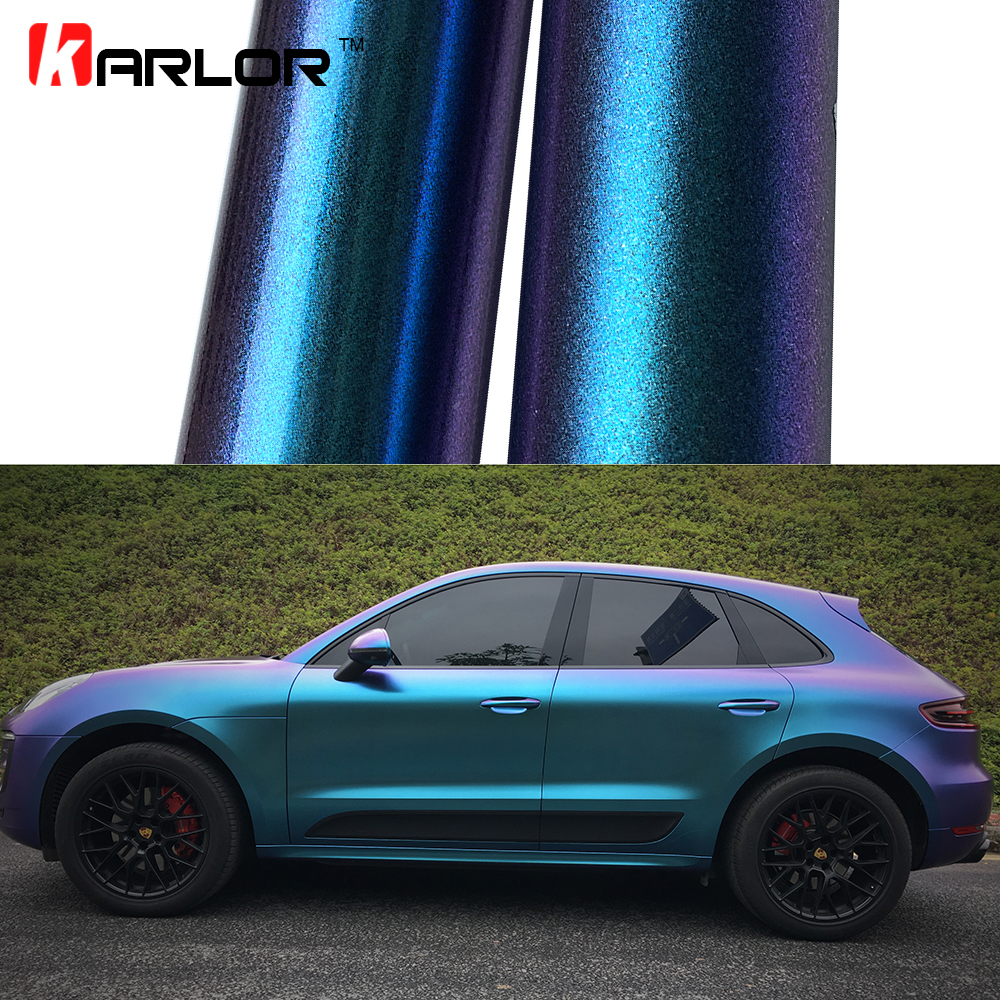 2m/18mX152cm Glossy/Matte Chameleon Pearl Glitter Vinyl Sticker Purple Blue Chameleon Automobiles Car Wrap Diamond Vinyl Film