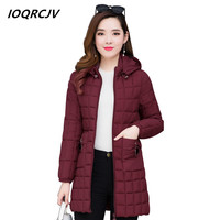 Winter 2019 New Spring Down Cotton Parkas Coats Female Long Thicken Womens Jacket Casual Tops Basic Coats Plus Size XL 5XLS203