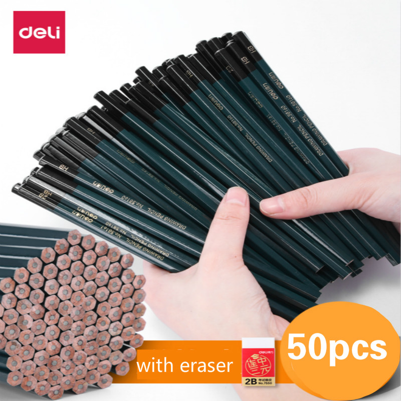 Deli Pupils Pencil Children Writing Drawing Art Sketch Hexagonal Wood Lead HB 2B Pencil with Eraser Student Stationery LapicesDeli Pupils Pencil Children Writing Drawing Art Sketch Hexagonal Wood Lead HB 2B Pencil with Eraser Student Stationery Lapices