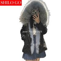 2017 Winter fashion women high quality Light blue Fox fur raccoon fur collar army green short section of loose black parka&XXL