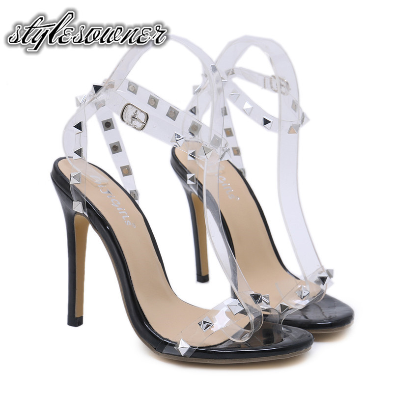 Stylesowner Summer Novelty Transparent Sandals for Female Super High Heels 12cm PU Thin Heels All-match with Rivet SandalsStylesowner Summer Novelty Transparent Sandals for Female Super High Heels 12cm PU Thin Heels All-match with Rivet Sandals