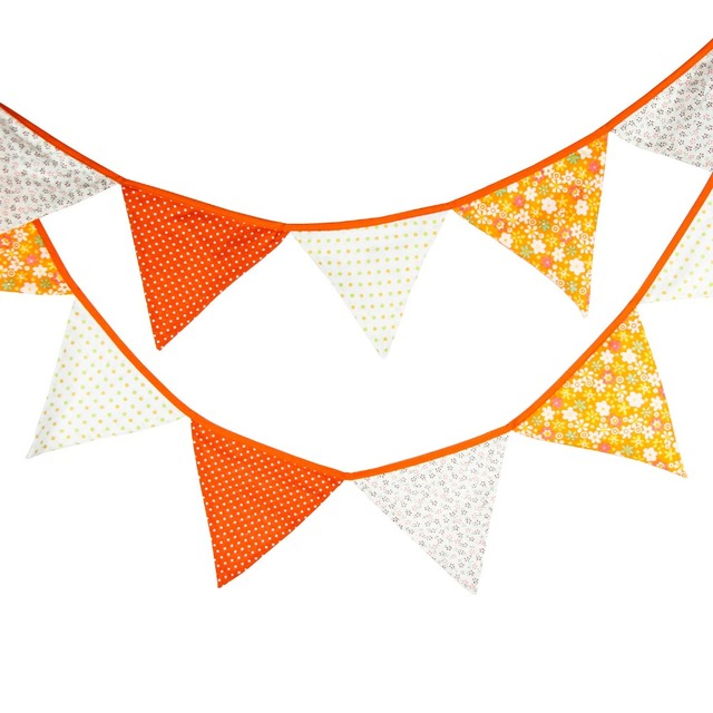 3.2m 12 Flags Orange Banner Pennant Cotton Bunting Banner ...