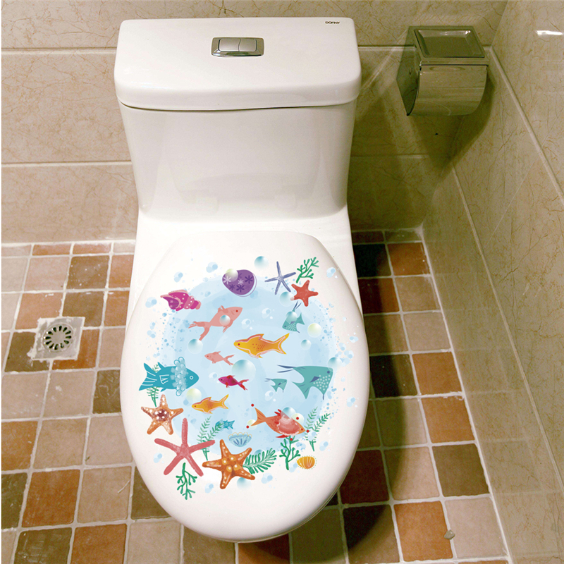 Красочный подводный морская рыба Туалет стены наклейки для ванной витрину home decor ПВХ Фреска Искусства мультфильм животных на стены