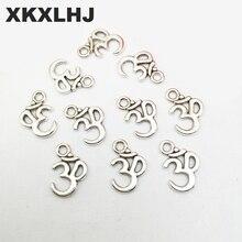 XKXLHJ 20pcs Charms yoga om 16*12mm Antique Silver Plated Pendants Making DIY Handmade Tibetan Jewelry