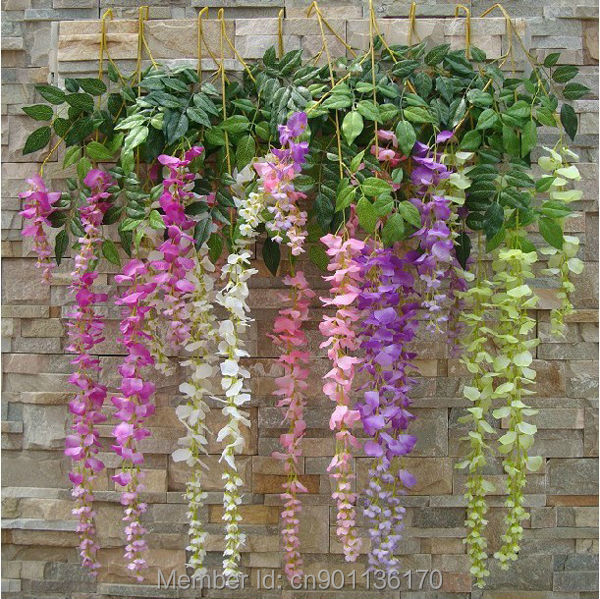 1pc long string artificial silk wisteria flower vine hanging fake 1pc long string artificial silk wisteria flower vine hanging fake garland wedding floral home decor 43 free shipping 5 colors in artificial dried flowers mightylinksfo