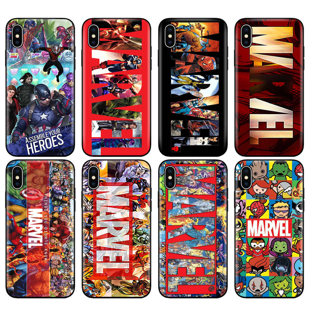 Black tpu case for iphone 5 5s se 6 6s 7 8 plus x 10 case silicone cover for iphone XR XS MAX case Luxury marvel