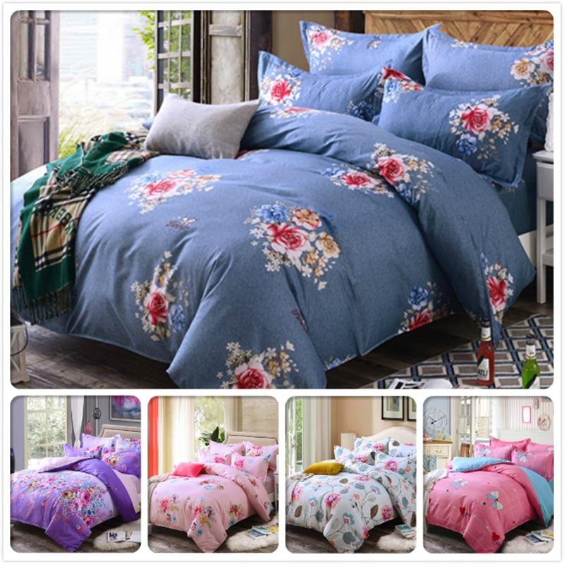 New Classic Flower Pattern Duvet Cover Bed Linen 34 pcs piece Bedding Set 456 feet 1.5m 1.8m 2m Bedsheet King Queen Twin Size