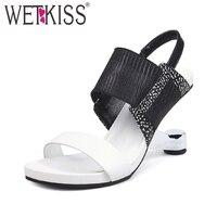 WETKISS/Необычные босоножки на высоком каблуке, летняя женская обувь с открытым носком, модные сандалии с принтом, Женская эластичная обувь из