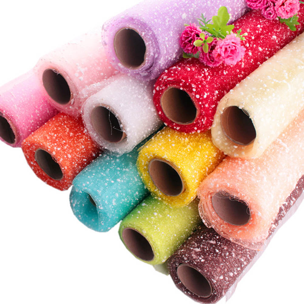 1 Roll 3.6M Snow Dot Tulle Roll Fabric PE Foam Organza Floral Wrapping Wedding Party Decoration Spool DIY Crafts
