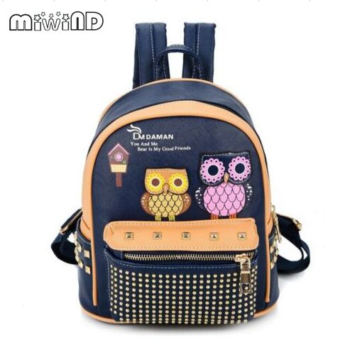 Miwind F OWL printed decals rivet quality shoulder bags women new adorable summer pu school bags