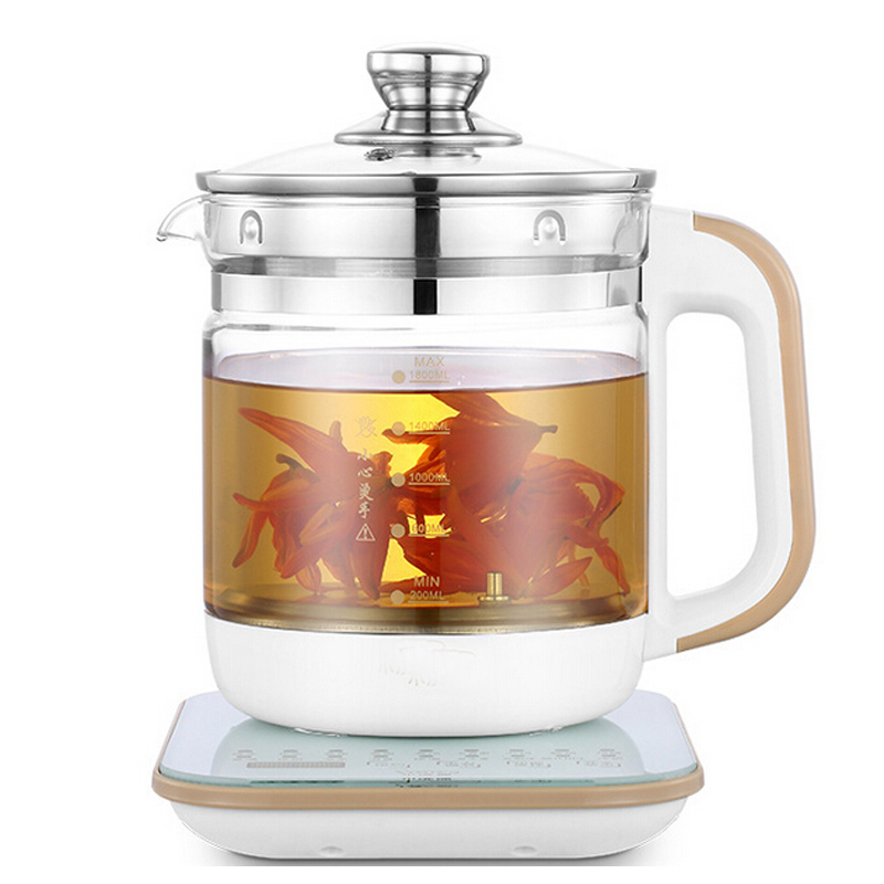 VOSOCO Electric kettle 800W 1.8L Prevent dry burning Multi function boron silicon glass Health preserving heat preservation bear 220v electric kettle multifunctional health preserving pot decocting of tea glass thickened kettles