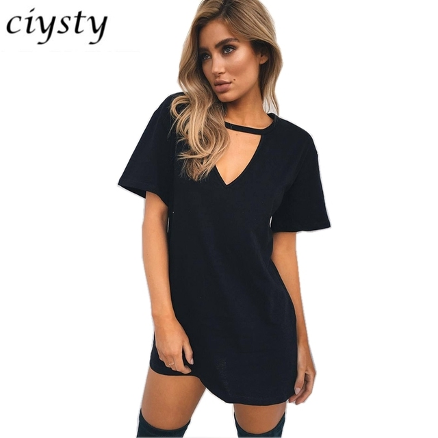 7ce1f1ddb64 Double tap to zoom Cut Out Shoulder Shirt Dress Source · 2018 Ciysty Women  Summer Casual Dresses Black Naked Color Cut Out V