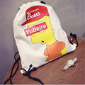 Casual canvas bag fashion character paints backpack bag open drawstring bag two colors availible