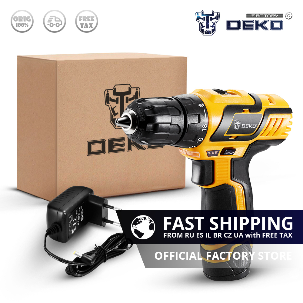 Factory Outlet DEKO GCD10 8DU3 10 8V LED Cordless Drill DC Lithium Ion Battery Mini Wireless