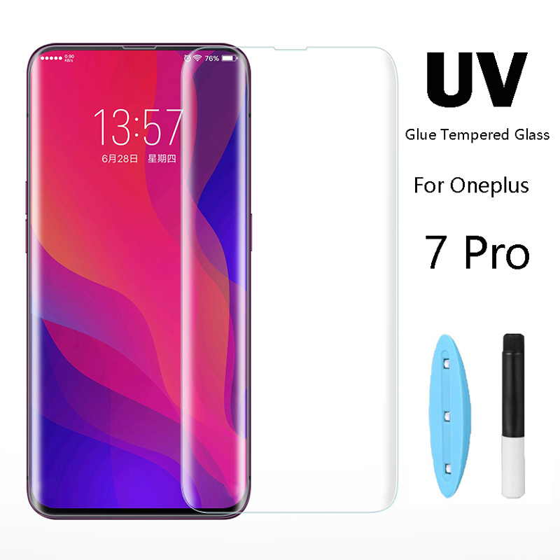 UV Full Glue Tempered Glass For OnePlus 7 Pro Screen Protector Curved Glass For OnePlus7 Pro Full Tempered Glass For Oneplus7Pro-in Phone Screen Protectors from Cellphones & Telecommunications