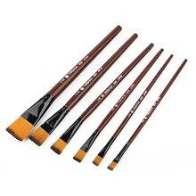 Продажа 6 шт. высокое качество художника нейлоновые волосы деревянной ручкой акварель акрил масляные краски, кисти набор для рисования живописи поставки