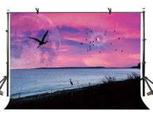 7x5ft Sunset Backdrop Evening Lake Crane Photography Background and Studio Props