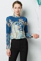 Spring and Summer Blue Cashew Flower Silk Shirt for Women