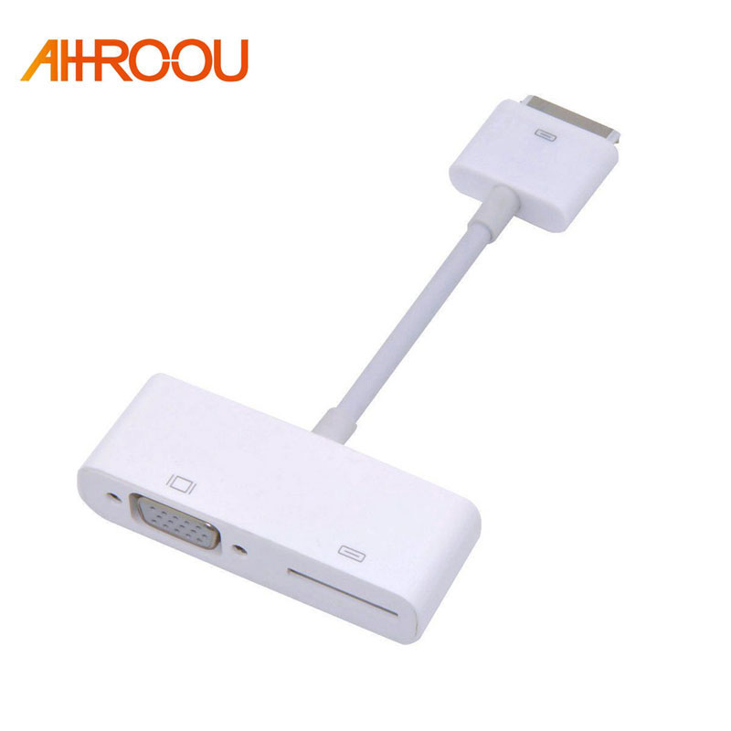 1080P 30 Pin Dock Connector to VGA Adapter Converter For iPhone 4S 4 3GS For iPad 1/2/3 VGA Adapter with Charging Port