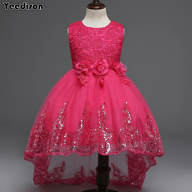 2018 Elegant Girl Evening Dress Flower Sequins Princess Wedding Party Kids Lace Dresses For Girls Costumes Prom Children Dresses white flower girls lace tutu dresses 2016 girl summer communion prom evening dress children princess dress 3 12y kids clothes