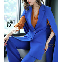 Для женщин брюки костюмы Повседневное Open Front Blazer Костюмы с карманом накидка Тренч легкое пальто удлиненный плащ пончо пальто