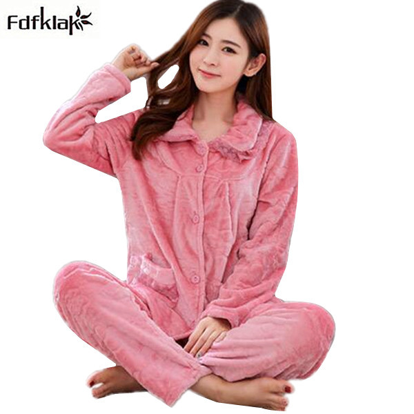 Fdfklak Thick Warm Women Winter Pajamas Long Sleeve Flannel Pijamas Set  Ladies Home Wear Sleepwear Pajama pyjama hiver femme d92933de6