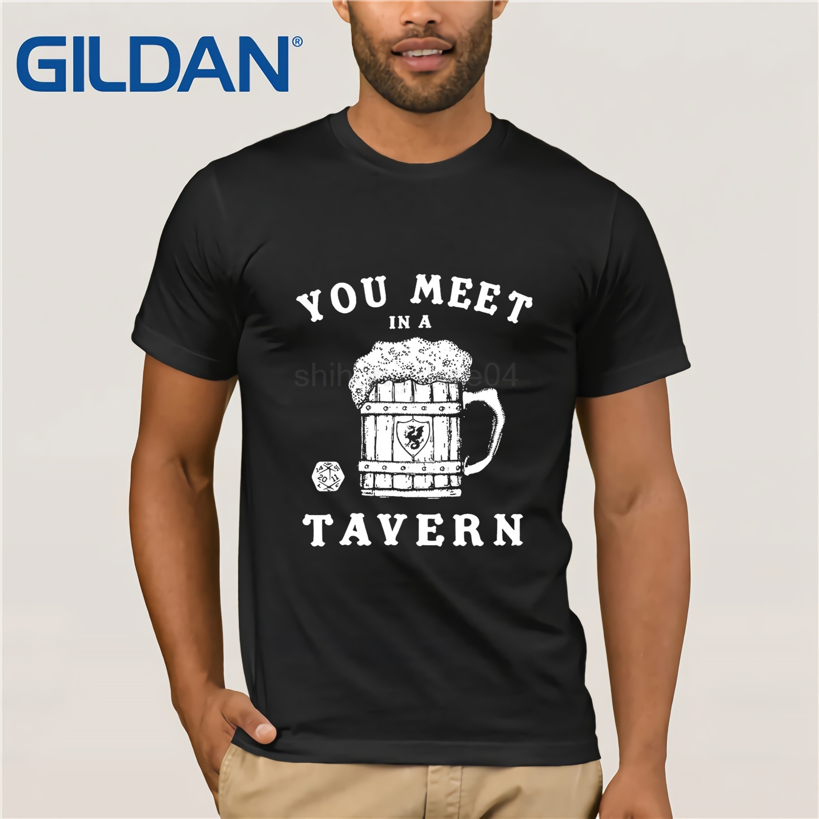T Shirt Short Sleeve Dungeons Tavern Shirt 20 Sided Dice Shirts and Magic Dragons Beer Mug The Dungeon Master Fantasy RPG image