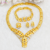 Liffly Fashion Bridal Jewelry Set Dubai Gold Jewelry Sets for Women Crystal Necklace Earrings Set Wedding African Beads Jewelry