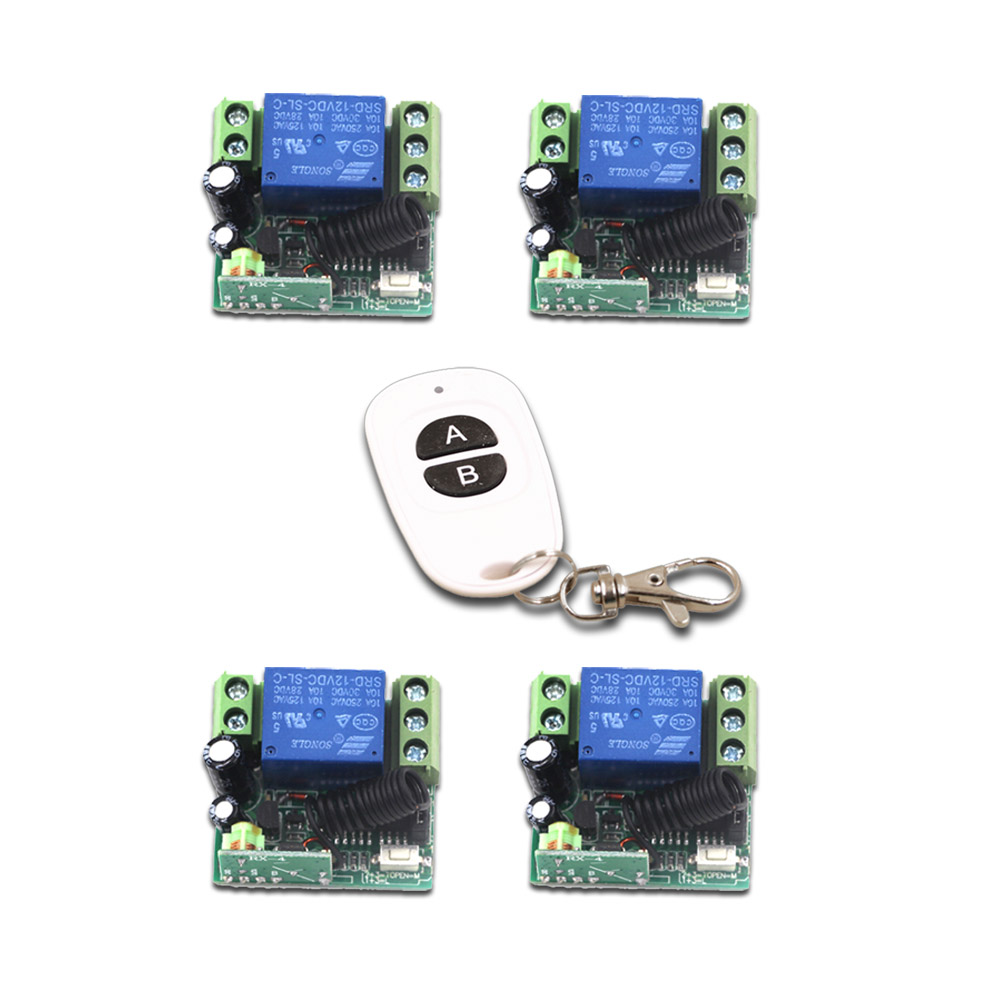 New Mini RF Wireless Remote Control Switch System DC12V 1CH 1pcs Waterproof Transmitter &4pcs Receiver 315/433MHZ new style mini dc12v 1ch rf wireless remote control switch system 1receiver 2transmitter 315 433mhz manual button limit switch