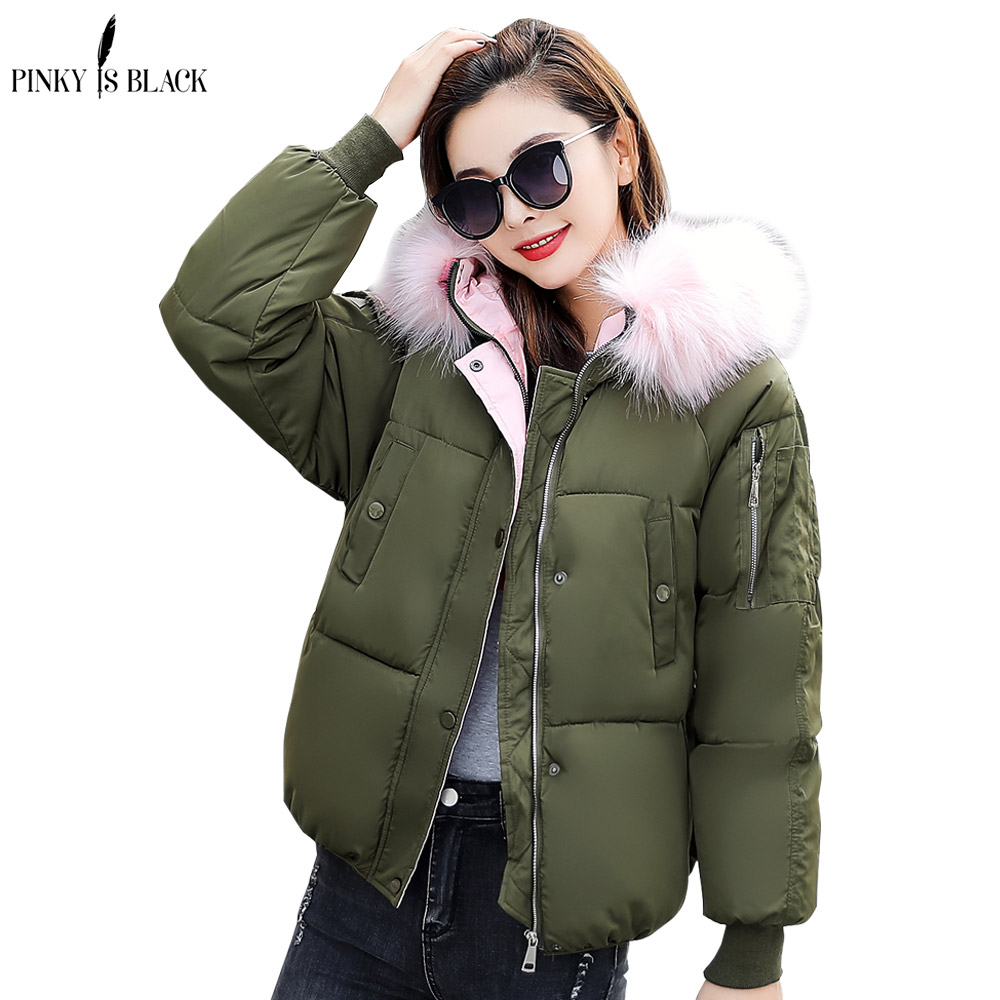 PinkyIsblack Winter Jacket Women 2018 New Fashion Female Winter Coat Thicken   Parka   Down Cotton Clothing Fur Hooded Plus Size 4XL