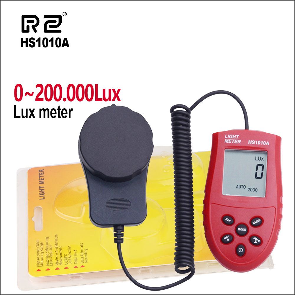 Compteur de lumière numérique RZ 200,000 luxmètre Lux/FC mètres luminomètre photomètre compteur de lumière HS1010A