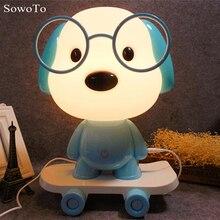 2nd Generation 3D Creative Cartoon Skateboard Table Lamps Kids Gift Cute  Dog LED Night Light Novel Frog Lamp Baby Bedroom Home