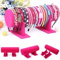 T Bar Jewelry Display Stand Rose Red Velvet Ornaments Organizer Show Case Single Layer Bracelet Hairband Showing Holder Racks