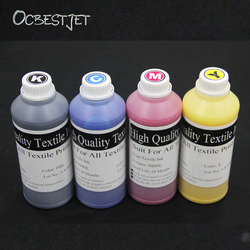 OCBESTJET 500ML 4Color Textile Ink For Epson 1390 R1800 R1900 R2000 R3000 7600 9600 4800 4880 7400 7450 9400 Printer Textile Ink