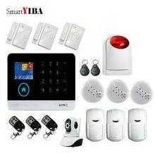 SmartYIBA 3G SMS Wireless Home Alarm System Kit Smoke Alarm Sensor With Wireless Strobe Siren Network Surveillance Camera