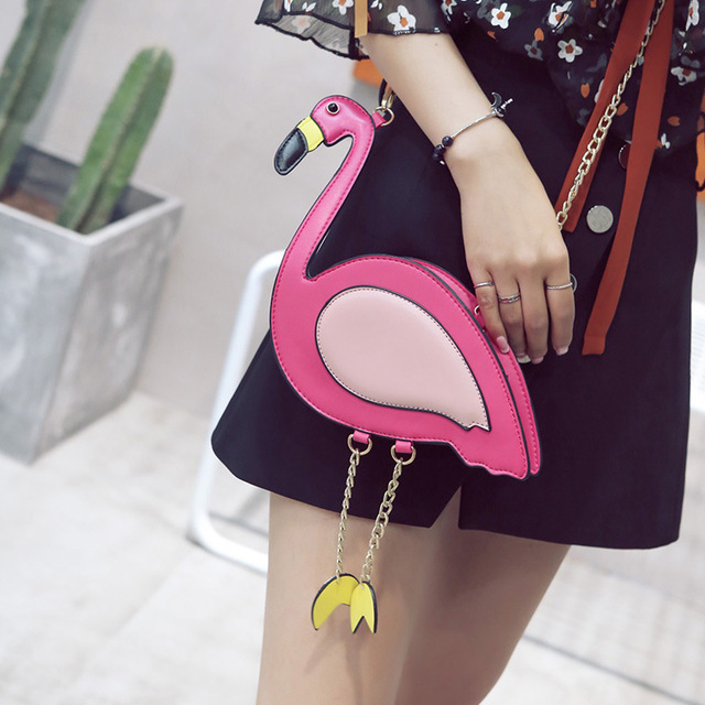 flamingo shape casual chain purse ladies shoulder bag