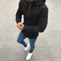 Envmenst 2018 New Arrival Men Wrinkled Sleeves Solid Color Cardigan Sweatshirts Male Leisure Zipper Hoodies