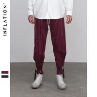 INFLATION Men Hip Hop Loose Fit Eye splice Ankle Strap Sweatpants Check Casual Joggers Lattice Cargo Pants Streetwear 8876W