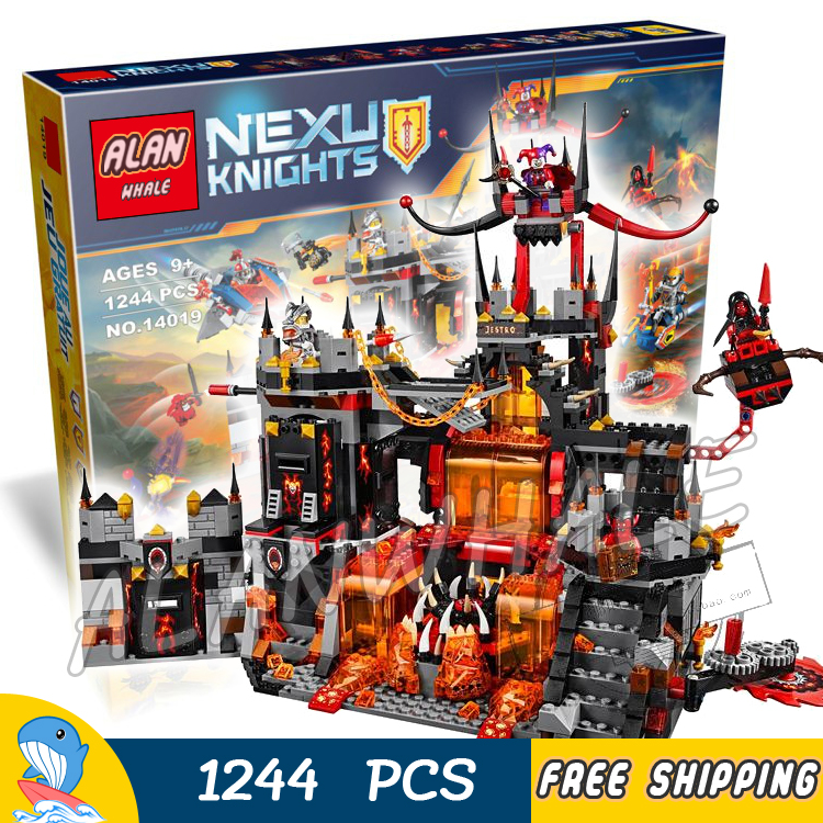 1244pcs New Knights Jestro's Volcano Lair Castle Base 14019 Model Building Blocks Children Toy Nexus Bricks Compatible With Lego big bricks building blocks base plate 51 25 5cm 32 16 dots baseplate diy bricks toy compatible with major brand blocks