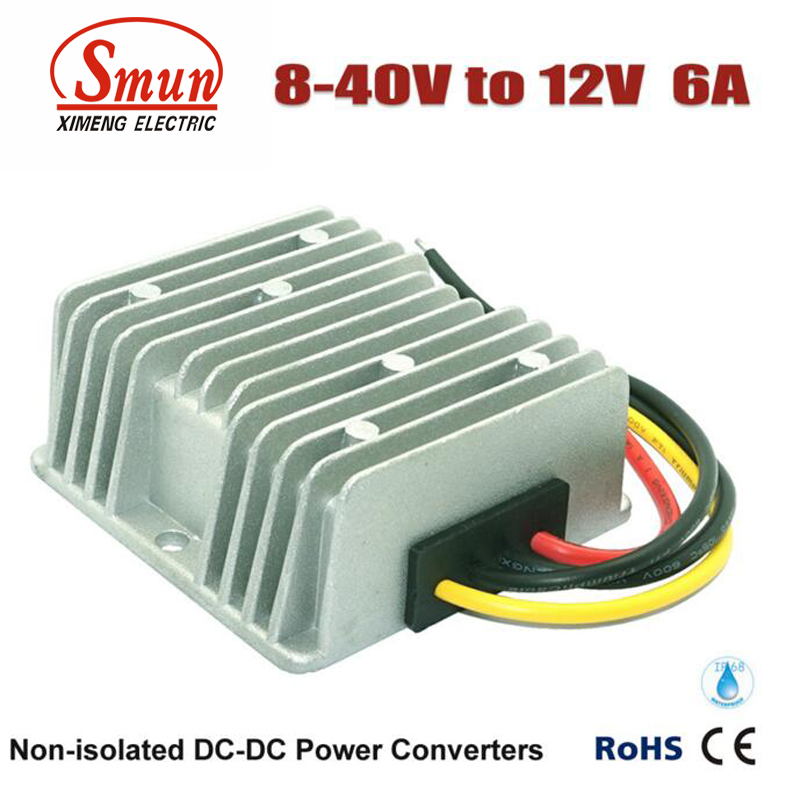 Non-isolated Waterproof 12V 24V 36V to 12V 6A 72W Boost Buck DC-DC Converter  dc dc converter 12v to 24v 5amax 120w for cars non isolated