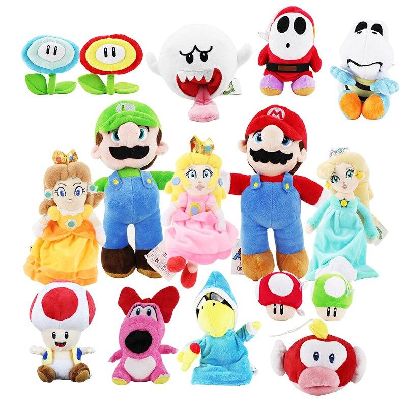 цена 12CM-25CM Super Mario Bros Yoshi Boo Ghost Princess Peach Mushroom Toadette Goomba Koopa Shy Guy Dry Bones Plush Toys kids gifts онлайн в 2017 году