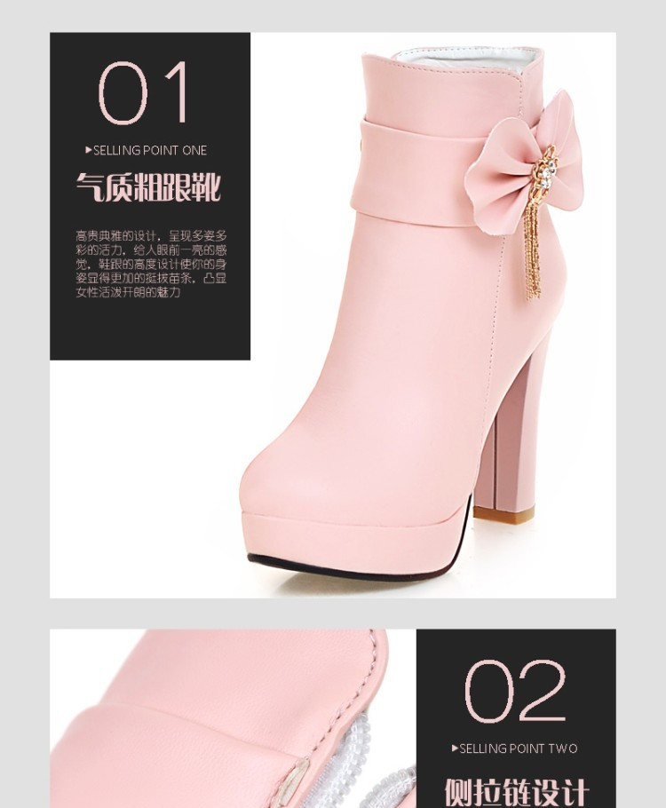 29_2016 Autumn Korean Womens Pink Dress Booties Shoes Princess Bow High Heels Black And White Platform Ankle Boots For Winter