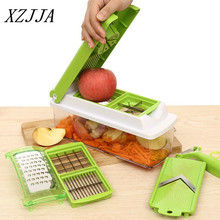 XZJJA High Quality Home Kitchen 12PCS/1Set Multifunction Vegetable Shredder Machine Fruits Device Slicer Diced Green Artifact